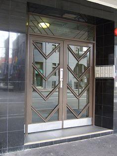 designer makers of Art new bespoke Art Deco Moderne interior and exterior doors joinery, The Design Service, TDS design, Charlieroe Modern Entrance Door, Modern Door, Entrance Doors, Double Door Design, Art Deco Door, Modern Bungalow House, Art Deco Buildings, Art Deco Design, Exterior Doors