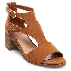 Women's Blix Double Buckle Heeled Quarter Strap Sandals Merona - Cognac (Red) 5.5