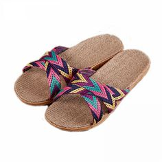 Suihyung Women Summer Flax Slippers Flats Colored Cross Belt Casual Home Slippers Flip Flops Female Indoor Shoes Woman Sandals Slide Flip Flops, Fancy Bows, Flat Color, Types Of Shoes, Flipping, Street Style Women, Hemp, Shoes Heels