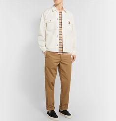 Carhartt Michigan Cotton-twill Chore Jacket In White Fashion Advice, Fashion News, Jacket Style, Carhartt, Parka, Work Wear, Street Wear, Khaki Pants, Leather Jacket