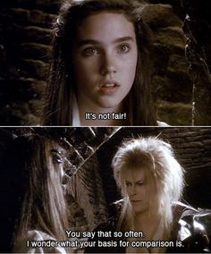 1986 - Jennifer Connelly as Sarah and David Bowie as Jareth in Labyrinth film. Labyrinth 1986, Labyrinth Movie, David Bowie Labyrinth Quotes, David Bowie Quotes, Jim Henson Labyrinth, Funny Movies, Great Movies, Excellent Movies, Awesome Movies
