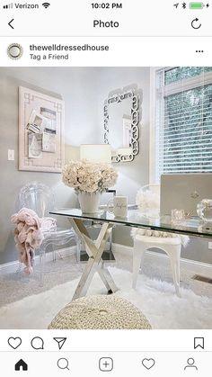 feminine home office. Home office ideas Cool Office Space, Cute Office, Bright Office, Desk Space, Home Office Design, Home Office Decor, Office Ideas, Pink Office Decor, Office Inspo