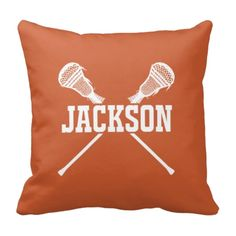 This custom throwpillow with lacrosse sticks and your name, will be the perfect addition to your room! You can customize the accent pillow with any of the colors from our palette or order it in the burnt orange and white color combo shown.  This custom throw pillow is the perfect bedroom decor for any boy or teen who loves to play lacrosse!  Sports themed Christmas present or birthday gift.