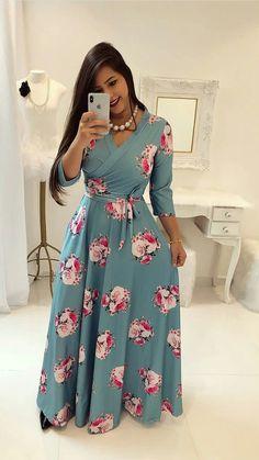 55 Ideas for moda evangelica vestidos executiva Modest Dresses, Modest Outfits, Modest Fashion, Hijab Fashion, Modest Wear, Beautiful Casual Dresses, Pretty Dresses, African Fashion Dresses, African Dress