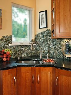River rock back splash  We did this and I love it---LOVE how it isn't even!  maybe over the stove?  :)