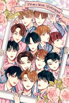 fanart credit to original owner Kpop Anime, Vernon Chwe, Carat Seventeen, Seventeen Wallpapers, Kpop Fanart, Jeonghan, Art Drawings, Sweet Drawings, My Idol