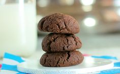 chocolate brownie cookies--healthy ones!! I used coconut oil and non-dairy milk--perfect!!