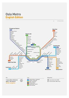 Here is the Oslo metro map translated into English showing public metro lines in the Oslo and Akershus area! Oslo, Navigator Of The Seas, Train Map, Norway Travel, Norway Vacation, Travel Europe, Metro Map, Subway Map, English Translation