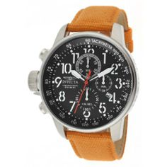 Invicta Men's 11520 I-Force Chronograph Black Dial Orange Rifle Watch Invicta. $121.15. Mineral crystal; stainless steel case; orange rifle strap. Chronograph functions with 60 second, 60 minute and 1/10th of a second subdials; date window at 4:00. Water-resistant to 100 M (330 feet). Swiss quartz movement. Black dial with black and white hands, white Arabic numerals and red second hand; tachymeter scale on inner bezel; luminous; crown and pushers at 9:00. Save 80%!