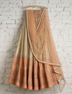 SwatiManish Lehengas SMF LEH 163 17 Gold lehenga with peach daman, peach dupatta and sequin threadwork blouse