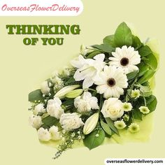 White flowers to show them that you are thinking of them. #thinkingflowers #thanksgiving #gift #flowers #surprise #whiteflowers #florist #overseasflowers Flower Delivery Service, White Flowers, Thinking Of You, Freedom, Floral Wreath, Wreaths, Gift Flowers, Gifts, Thanksgiving