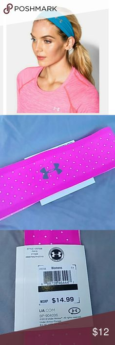 ??NWT Under Armour Nonslip Headband?? ??NWT UA Nonslip Headband?? ?Super cute pink &  white polka dot headband  (First pic shows style only...different color) Under Armour Accessories Hair Accessories