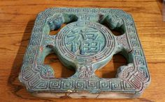 ANTIQUE 19th C. Chinese Feng Shui Lucky Ancient Coin CLAY POTTERY TILE AS FOUND
