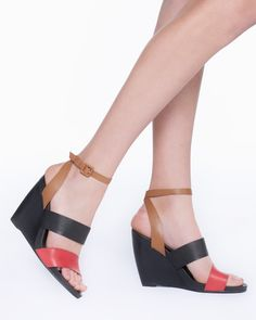 Multi colored wedges. Love because you can wear with black or brown.