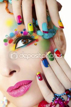 Colorful French manicure and makeup. — Zdjęcie stockowe © marigo #67245653