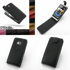 PDair Leather Case for The New HTC One 801e 801s - Flip Top Type (Black)
