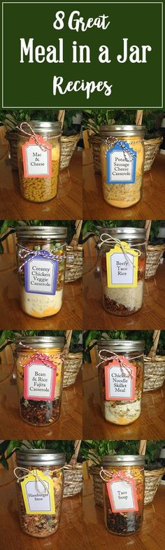 Eight Great Meal in a Jar Recipes Meals in a Jar, Easy Meals, Shelf-stable, food storage Mason Jar Meals, Mason Jar Gifts, Meals In A Jar, Mason Jars, Gift Jars, Canning Jars, Mason Jar Recipes, Jar Food Gifts, Canning 101