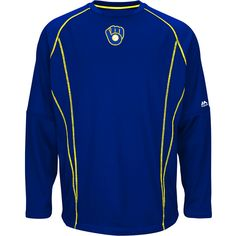 35f66950 Milwaukee Brewers On-Field Practice Pullover Fleece by Majestic Athletic -  MLB.com Shop