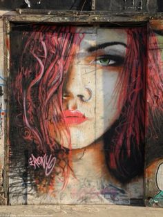 Street art, female beauty, face, graffitti, photo