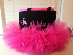 Darling TuTu Tote Bag See my other listings for more color options! Choose your colors! The perfect bag for your budding ballerina or for the girly girl! Bag is made of cotton canvas and dressed up with hot pink tulle, beautifully embroidered ballet slippers and finished with a