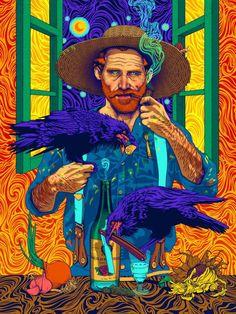 "A psychedelic take on the Dutch Post-Impressionist painter presents Van Gogh in swirling, vivid lights. ""Vincent van Gogh"" by ROSENFELDTOWN Arte Pop, Art And Illustration, Portrait Illustration, Vincent Van Gogh, Desenhos Van Gogh, Van Gogh Wallpaper, Hd Wallpaper, Van Gogh Pinturas, Van Gogh Art"
