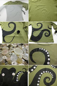 DIY Octopus Shirt, Mei would love this Fabric Crafts, Sewing Crafts, Diy Crafts, Cute Christmas Ideas, Craft Projects, Sewing Projects, Idee Diy, Diy Shirt, Crafty Craft