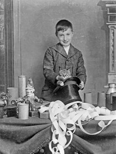 Young boy, Master Percy rehearsing his part for his Christmas entertainment doing magic. Ghost Of Christmas Past, Rare Images, Antique Illustration, Hocus Pocus, Macabre, The Magicians, Cats And Kittens, Mystery, Weird
