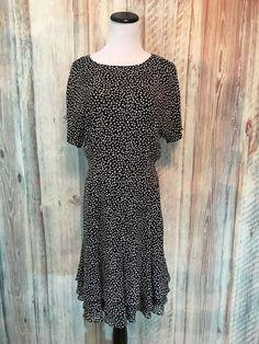 Dana Buchman Silk Dress Black White Dot Ruffle Flounce Lined Back Zip sz 10 EUC! #DanaBuchman #Tiered