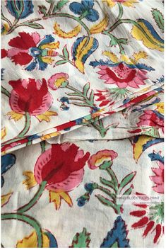 Hand Block Tulips Printed Table Printed Fabric made in India on superior Mulmul cotton