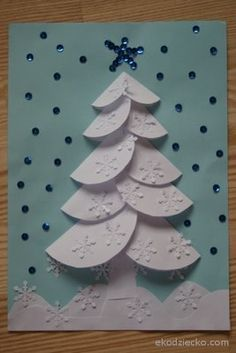Zimowa, ośnieżona choinka origami z kółeczek Winter Christmas tree origami with circles kids craft kidschristmas Christmas Card Crafts, Homemade Christmas Cards, Christmas Activities, Christmas Projects, Simple Christmas, Kids Christmas, Handmade Christmas, Holiday Crafts, Christmas Decorations