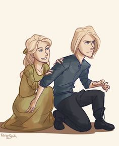 Young Aelin and Aedion by taratjah. Heir of Fire. Queen of Shadows. Empire of Storms. Sarah J. Maas