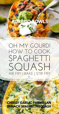 spaghetti squash burrito bowls Four Cheese Spaghetti Squash, Best Spaghetti Squash Recipes, Cooking Spaghetti Squash, Best Vegan Recipes, Healthy Recipes, Healthy Foods, Diet Recipes, Pasta Substitute, Air Fryer Dinner Recipes