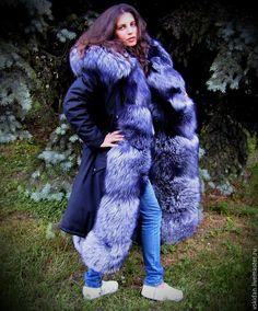 Купить Парка с мехом чернобурки (трансформер) в интернет магазине на Ярмарке Мастеров