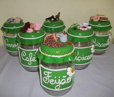 Conjunto de potes cozinha decorados