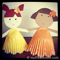 cupcake liner paper doll - many cute ideas!
