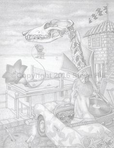 Dr. Applehead is a Lifeguard #pencildrawing #fineart #surreal #fantasy #blackandwhite