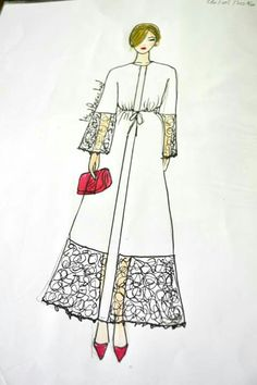 Hind berrached abaya collection Fashion Design Sketchbook, Fashion Sketches, Photoshoot Inspiration, Style Inspiration, Fashion Desinger, Abaya Designs, Drawing Clothes, Abaya Fashion, Sketch Design
