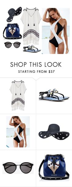 """beach time"" by olia7805 on Polyvore featuring Tory Burch, Karl Lagerfeld, Victoria's Secret and Yves Saint Laurent"