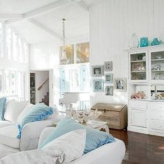 White and aqua accents...