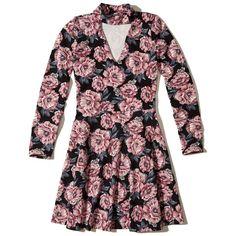 Hollister Floral Choker Skater Dress ($20) ❤ liked on Polyvore featuring dresses, black floral, knit skater dress, skater dress, cutout dresses, floral skater skirt and cut-out skater dresses