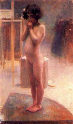 Nude girl by Carlos Saenz de Tejada. Impressionism. nude painting (nu)