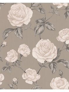 Graham & Brown Countess Taupe Floral Wallpaper - B&Q for all your home and garden supplies and advice on all the latest DIY trends Beige Wallpaper, Wallpaper Decor, Flower Wallpaper, Pattern Wallpaper, Wallpaper Backgrounds, Wallpaper Designs, Bedroom Wallpaper, Print Wallpaper, Wallpaper Ideas