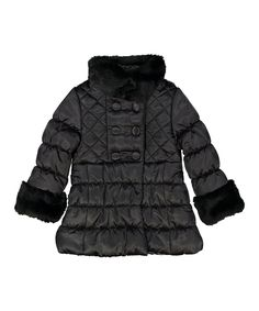 Loving this Jessica Simpson Collection Black Faux Fur Neck Puffer Coat - Toddler & Girls on #zulily! #zulilyfinds