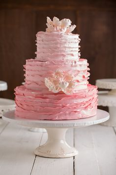Beautiful Pink ombre wedding cake By Frederick's Pastries www.pastry.net #fredericksPastries #fredericks #weddingCake #pinkWeddingCake