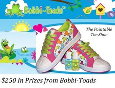 Bobbi-Toads, one of the Main Event Sponsors for the Fashionista Events Giveaway Spring 2013.  They are giving away a 250 dollar gift certificate split between 2 winners.  Bobbi-Toads are adorable paintable shoes that your child will love.  https://www.bobbitoads.com/ This is a Fashionista Events Giveaway, part of the 26,000 dollar, 98 giveaway Fashionista Events that runs March 7-13. GET OVER THERE AND START ENTERING!  http://stillblondeafteralltheseyears.com/2013/03/main-event/