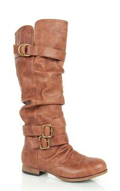 Tall Ruched Riding Boot with Buckles and Straps $43
