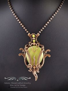 """""""Solaria -- Once Upon a Time"""". Lemon Jade Pendant Necklace Wire Wrap Antiqued Copper w/ Jade Accent Beads. Original design by Daryl Adams."""