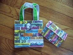 Monopoly money creates a fun pattern on this mini bag and wallet!