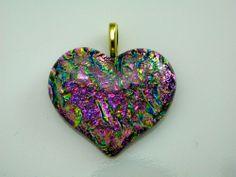 heart DICHROIC FUSED GLASS PENDANT (Q15) ORNAMENT HANDMADE
