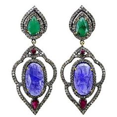 Sterling Silver 18.92 Ct Tanzanite & Emerald Diamond Pave Dangle Earrings Vintage Style 14K Gold Jewelry available at joyfulcrown.com